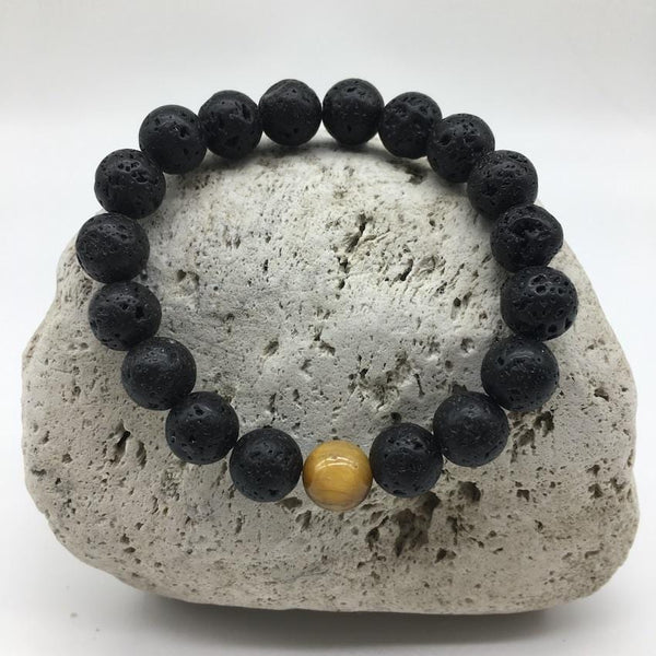 Lava Rock 8mm Healing Bracelet with Tiger Eye Spacer