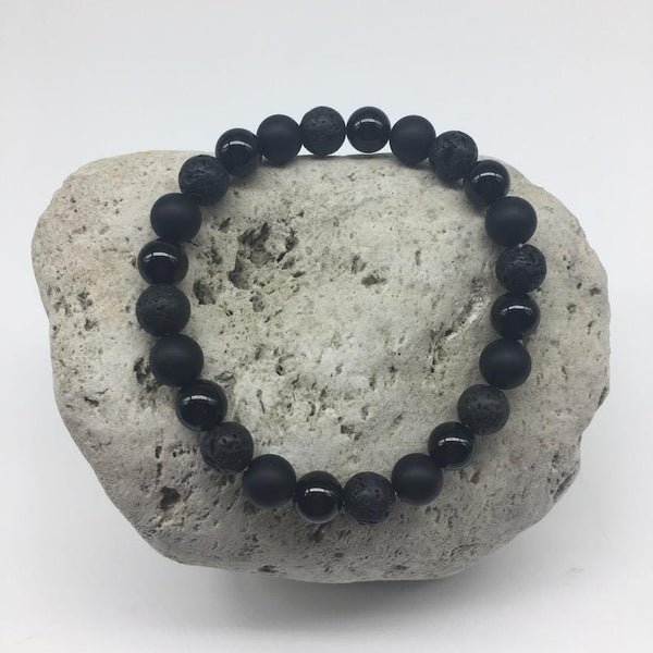 Lava Rock and Black Agate 8mm Stone Healing Bracelet