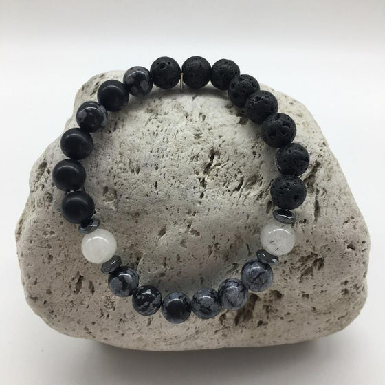 Lava Rock, Black Agate and Snowflake Obsidian 8mm Stone Bracelet with Rutilated Quartz Stones