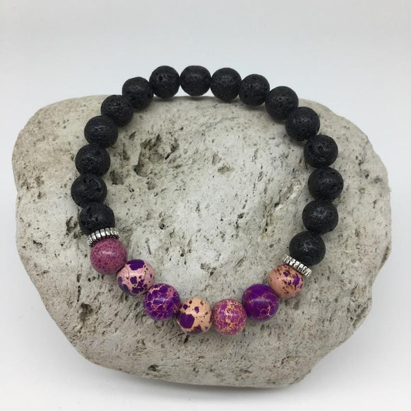 Lava Rock and Purple Imperial Stone 8mm Healing Bracelet