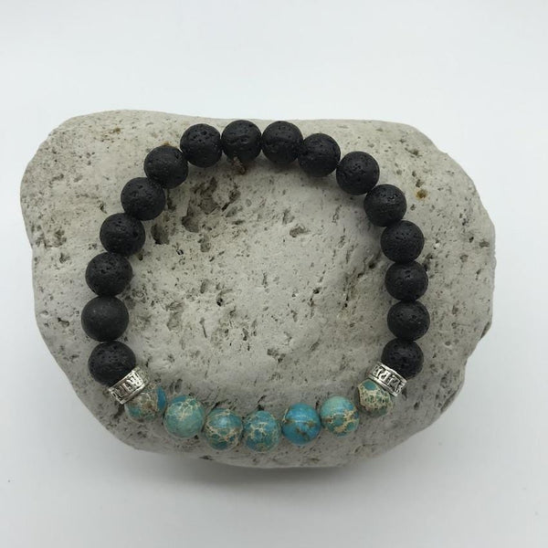 Lava Rock and Blue Imperial Turquoise 8mm Stone Healing Bracelet