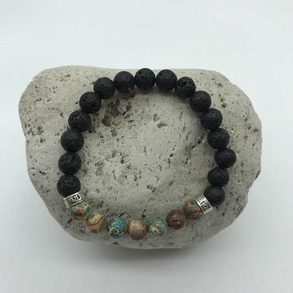 Lava Rock and Blue Imperial Turquoise 8mm Stone Healing Bracelet 2