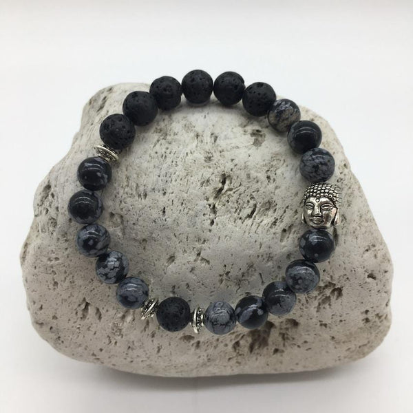 Lava Rock and Snowflake Obsidian 8mm Stone Healing Bracelet with Buddha Charm