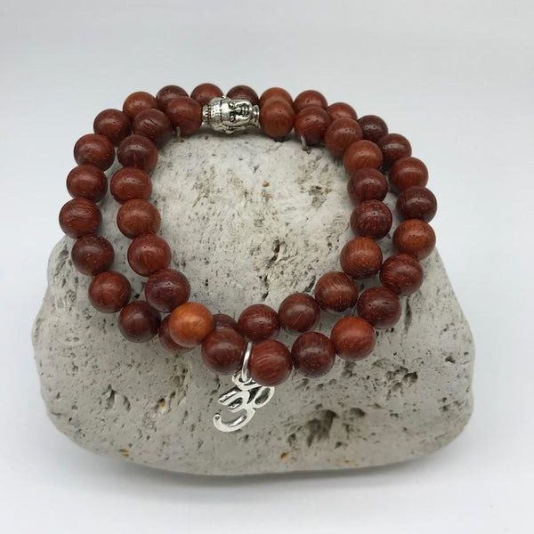 Mala Wooden 8mm Bead Bracelet with Buddha and Om Sign Charm