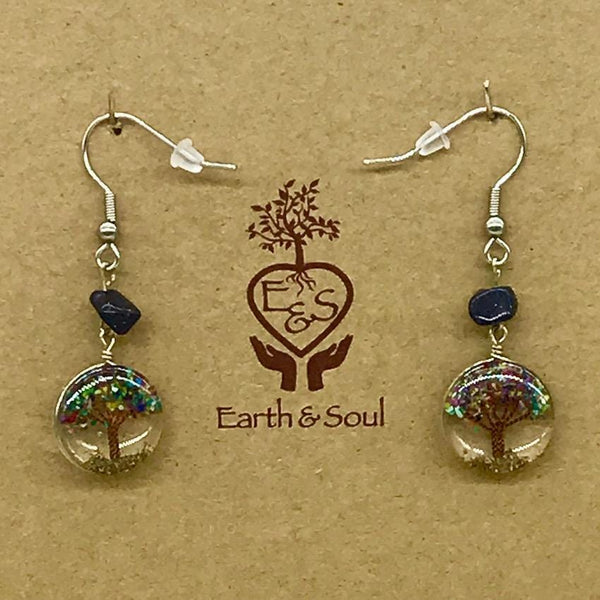 Tree of Life Drop Earrings - Mixed Agate