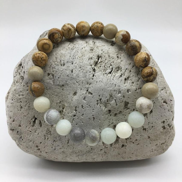 Picture Jasper and Amazonite 8mm Stone Bracelet