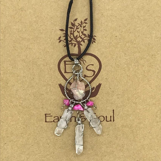 Pink Opal Crystal Dreamcatcher Necklace