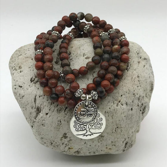 Poppy Jasper 6mm Stone Bracelet with Tree of Life and Om Charms