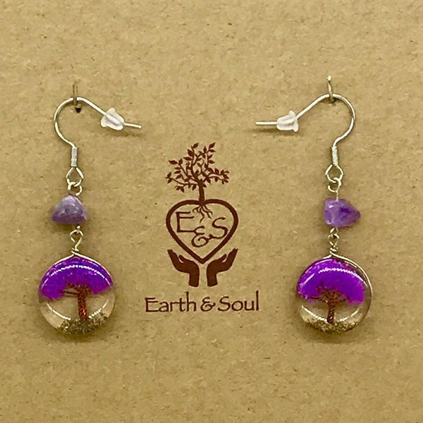 Tree of Life Drop Earrings - Purple Agate