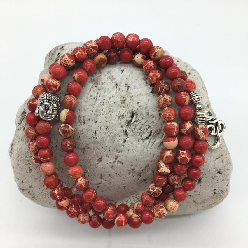 Red Imperial Turquoise 6mm Stone Bracelet with Buddha and Om Sign Charms