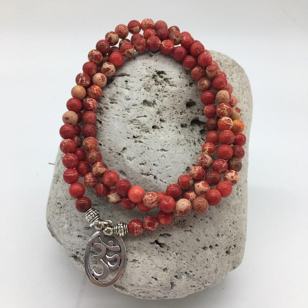 Red Imperial Turquoise 6mm Stone Bracelet with Om Sign Charm