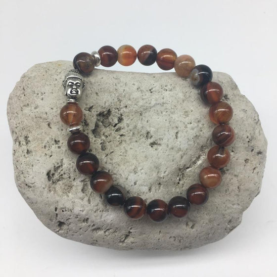 Red Striped Agate 8mm Stone Bracelet with Buddha Charm