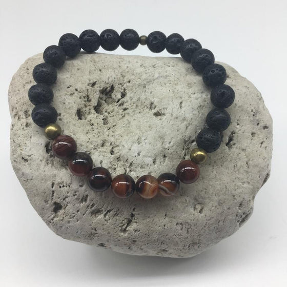 Red Striped Agate and Lava Rock 8mm Bead Healing Bracelet