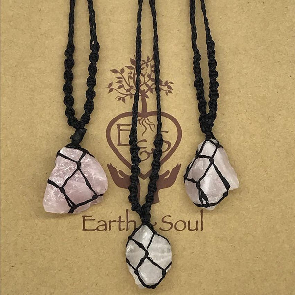 Rose Quartz Crystal Necklace - Black cord