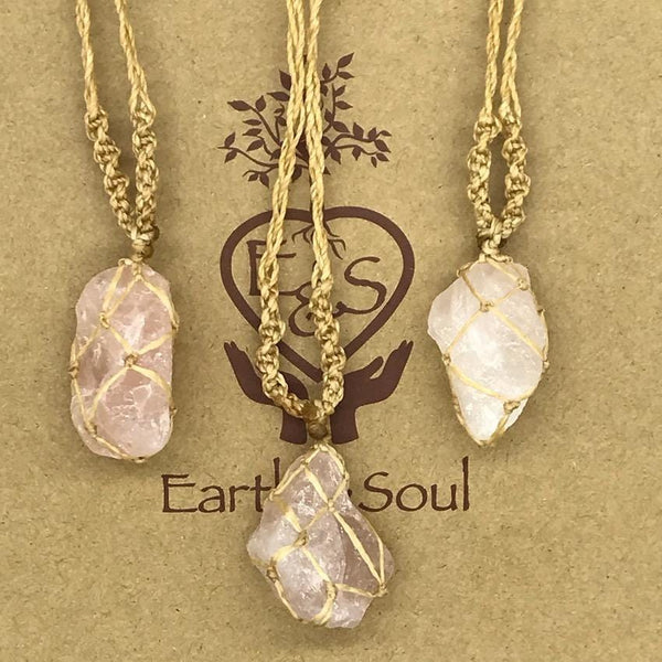 Rose Quartz Crystal Necklace - Natural cord