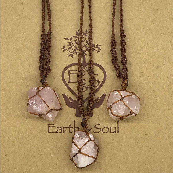 Rose Quartz Crystal Necklace - Brown cord