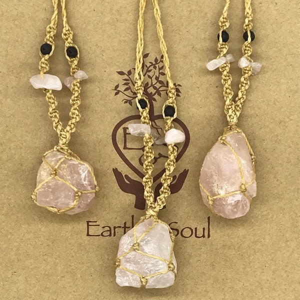 Rose Quartz Decorative Crystal Necklace - Natural