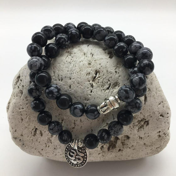 Snowflake Obsidian 8mm Stone Bracelet Set with Buddha and Om Charms