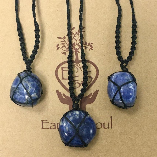 Sodalite Polished Crystal Necklace