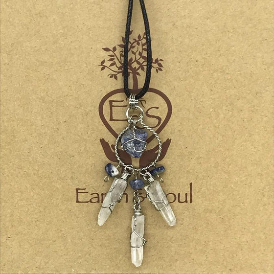 Sodalite Crystal Dreamcatcher Necklace
