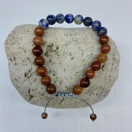 Sodalite and Sandalwood 8mm Stone Bracelet - Adjustable