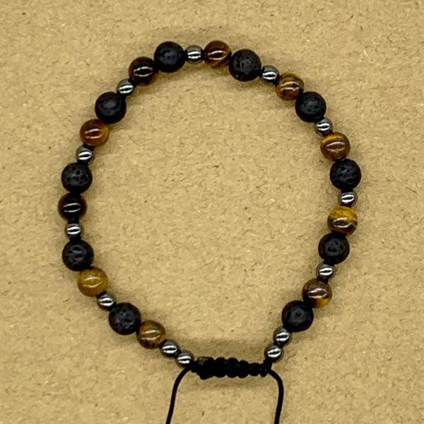 Crystal Bracelet with Hematite Spacers - Lava Rock and Tiger Eye