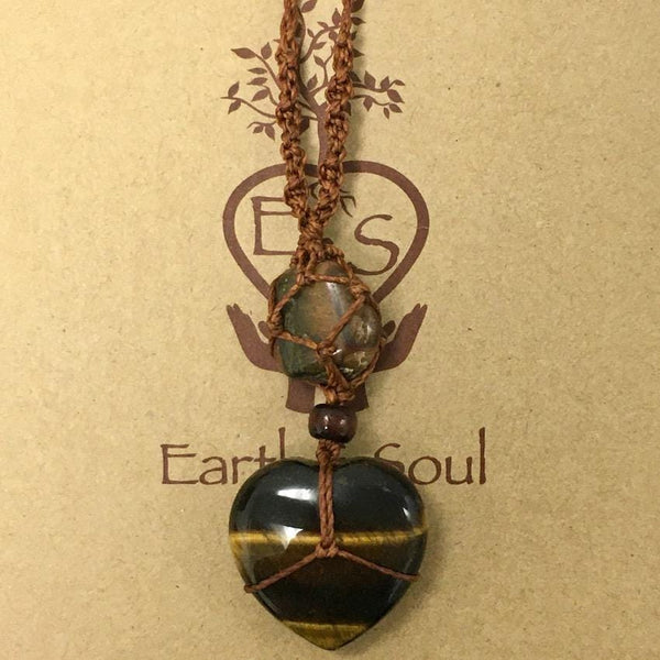 Tiger Eye Crystal Heart Necklace - Brown Cord