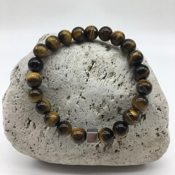 Tiger Eye 8mm Stone Bracelet with Burnished Silver Spacer
