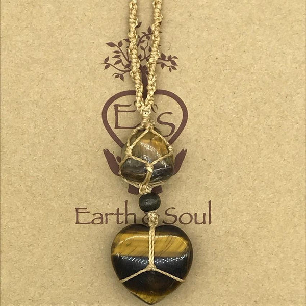 Tiger Eye Crystal Heart Necklace - Natural cord