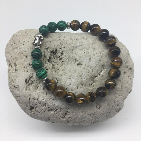 Tiger Eye and Green Peacock 8mm Stone Bracelet with Buddha Charm