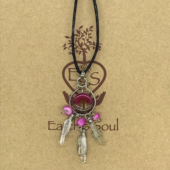 Tree of Life Dreamcatcher Necklace - Fuchsia Agate