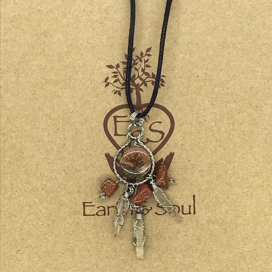 Tree of Life Dreamcatcher Necklace - Goldstone
