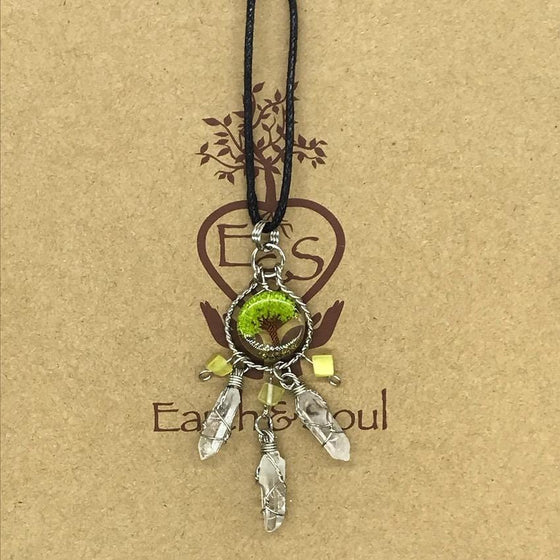 Tree of Life Dreamcatcher Necklace - Green Agate