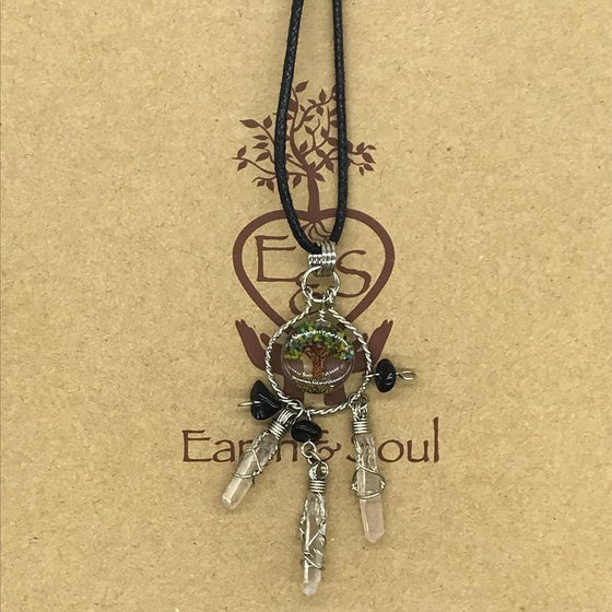 Tree of Life Dreamcatcher Necklace - Mixed Agate