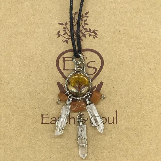 Tree of Life Dreamcatcher Necklace - Orange Calcite