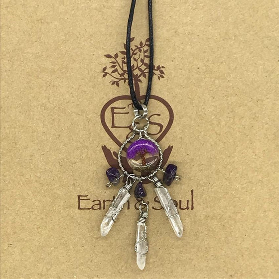 Tree of Life Dreamcatcher Necklace - Purple Agate