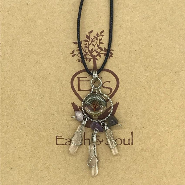 Tree of Life Dreamcatcher Necklace - Pyrite