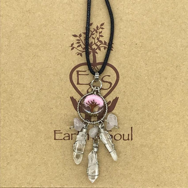 Tree of Life Dreamcatcher Necklace - Soft Pink Agate