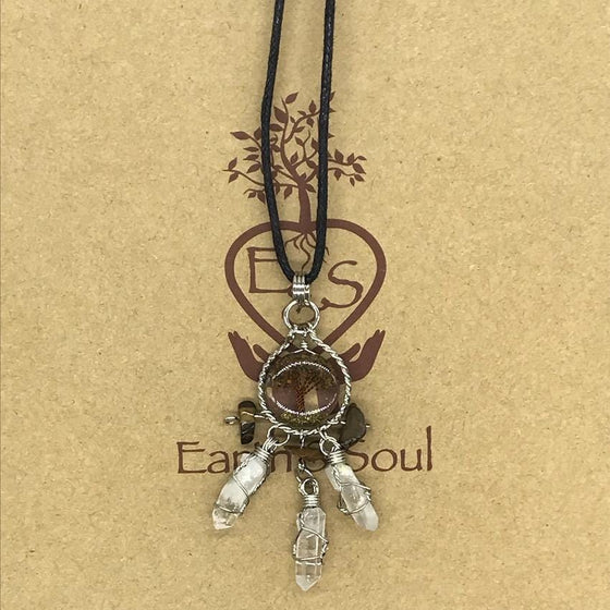 Tree of Life Dreamcatcher Necklace - Tiger Eye