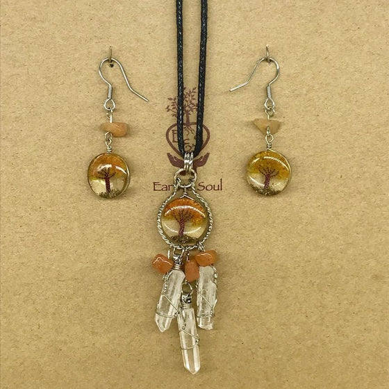 Tree of Life Dreamcatcher Necklace & Drop Earring Set - Orange Calcite