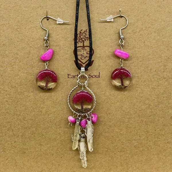 Tree of Life Dreamcatcher Necklace and Drop Earring Set - Fuchsia Agate