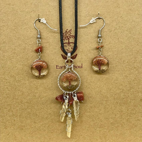 Tree of Life Dreamcatcher Necklace and Drop Earring Set - Goldstone