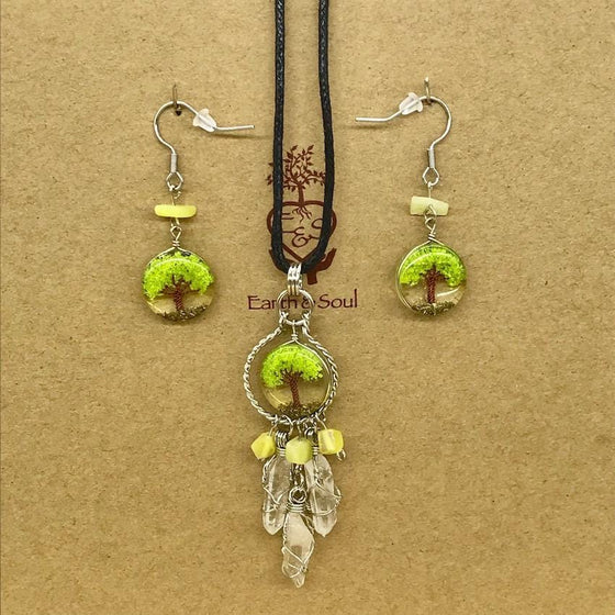 Tree of Life Dreamcatcher Necklace and Drop Earring Set - Green Agate