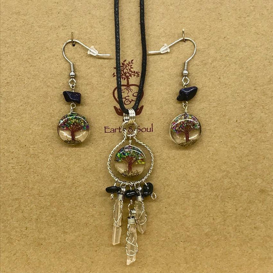Tree of Life Dreamcatcher Necklace and Drop Earring Set - Mixed Agate