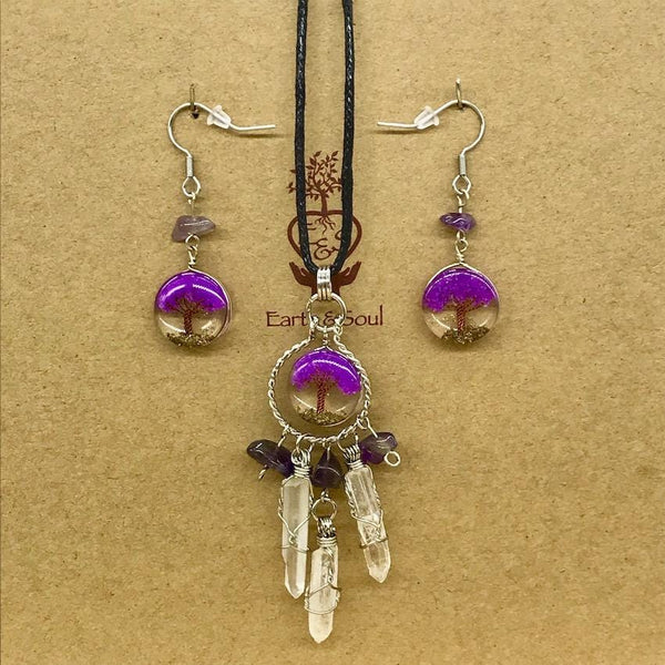 Tree of Life Dreamcatcher Necklace and Drop Earring Set - Purple Agate