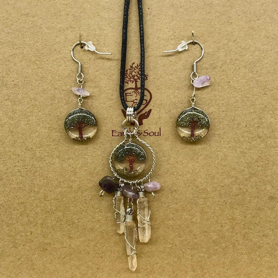 Tree of Life Dreamcatcher Necklace and Drop Earring Set - Pyrite