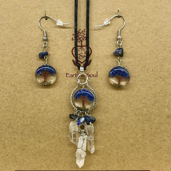 Tree of Life Dreamcatcher Necklace and Drop Earring Set - Sodalite