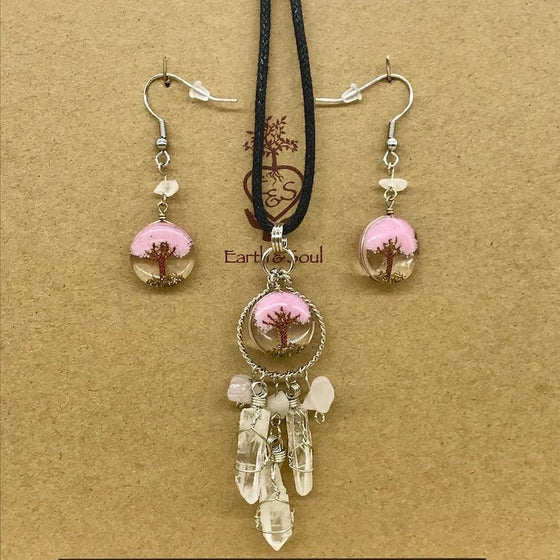 Tree of Life Dreamcatcher Necklace & Drop Earring Set-Soft Pink Agate