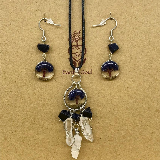 Tree of Life Dreamcatcher Necklace and Drop Earring Set - Starstone