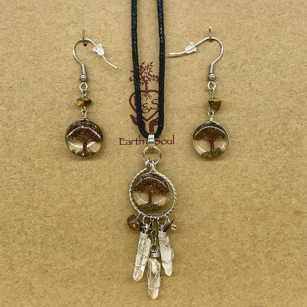Tree of Life Dreamcatcher Necklace and Drop Earring Set - Tiger Eye